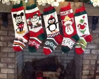 Hand Knitted Christmas Stockings Angel Penguin Snowman Sled Scene