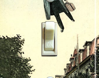 Umbrella Man Vintage Illustration Decorative  Single Switch Plate ***FREE SHIPPING***