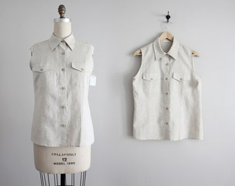 collared linen blouse / sleeveless blouse / neutral blouse