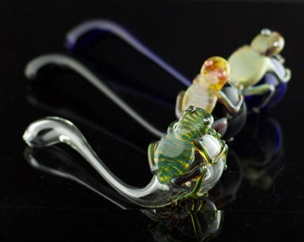 Frog Glass Sherlock / Glass Hand Pipe / Tobacco Pipe Glass / High Quality Pipe / Hand Blown Pipe / You Choose the Color / Made to Order