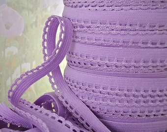 5yd Picot Elastic Stretch lace Trim 3/8 inch Purple Skinny edge Elastic Scallop for Headbands Sewing lingerie Pantie Elastic by the yard