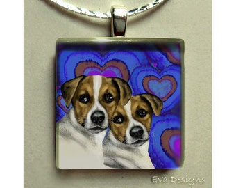 JACK RUSSELL TERRIER dogs blue hearts necklace jewelry art gift pet 1 inch glass tile pendant with chain