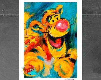 Tigger, Winnie the Pooh, wall Art Print,pooh nursery,disney characters,Baby Shower Gift,Tigger Nursery, cole brenner, colorado artist