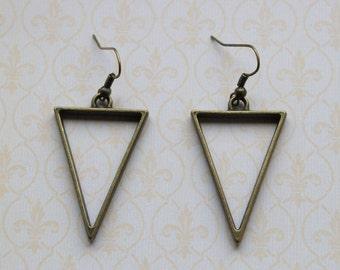 Minimalist bronze geometric triangle earrings