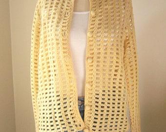 70s pointelle cardigan, Evan-Picone, 70s buttery yellow cardigan / light lattice stitch sweater, ILGWU / USA, womens small medium