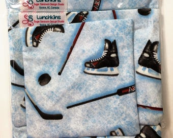 Snack Bags HOCKEY Re-Usable Washable with Closure Options