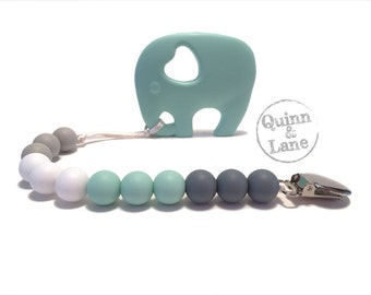 Pacifier Clip w/ Silicone Teething Elephant Teether - Bite Beads Soother Clip Baby Toy - Chew Toy - Grey/Mint/White/Moon