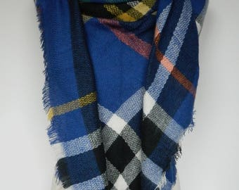 Blue Plaid Scarf, Winter Scarf, Plaid Scarf, Large Triangle Plaid Scarf, Plaid Shawl, Blanket Scarf, Women's Scarf, Ladies Gifts