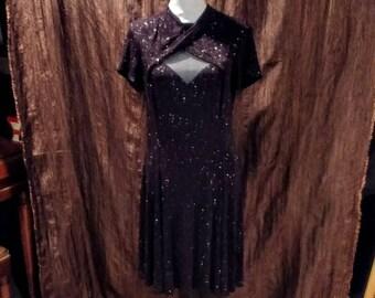 Vintage S L Fashions black formal dress, size 12, free shipping