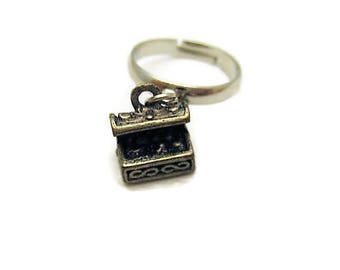 Treasure Chest Ring Charm Ring Adjustable Brass Ring