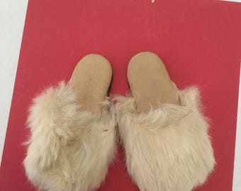 Vintage Baby Slippers / Rabbit Fur Mules