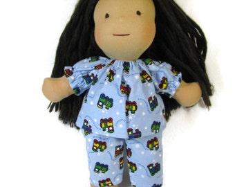 14 to 15 inch Waldorf Doll Flannel Train Pajamas, Toy Sleepwear, Cotton Doll Pajamas, Blue Doll PJs