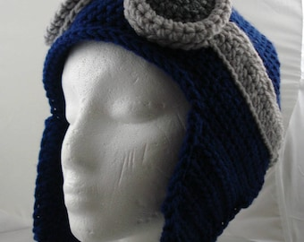 Crocheted Aviator's Helmet in Dark Blue with Silver Rimmed Goggles (made to order)
