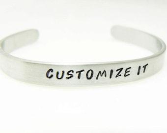 Graduation bracelet, customized cuff, hand stamped,  skinny cuff, custom stamped bracelet