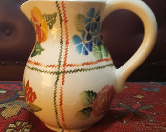 Vtg Hand Painted Italian Pitcher