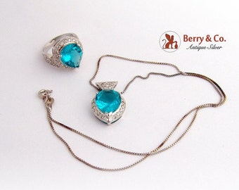 SaLe! sALe! Vivid Greenish Blue Topaz Ring and Pendant Sterling Silver CZ