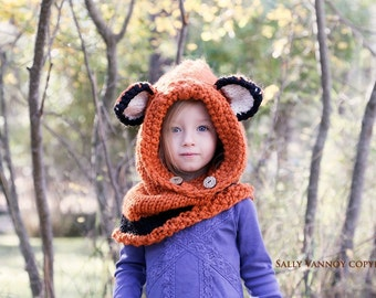 Knit Fox Cowl, Failynn Fox, Child to Adult  Fox Hood