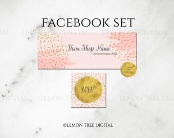 Pink|Gold|Glitter|Confetti|Facebook Set|Facebook Banner|Facebook Cover|Social Media