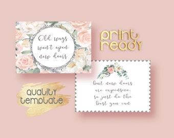 Floral DIY Postcard, Greeting, Old Ways Won't Open New Doors, Motivation Printable Card