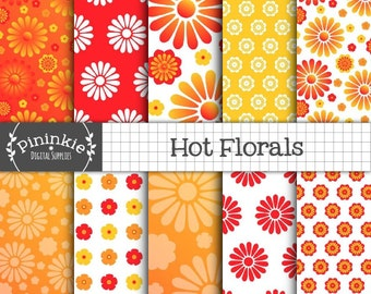 Flower Digital Paper, Floral Scrapbooking Paper, Summer Digital Paper, Red, Orange, Yellow, Ombre, Daisies, Instant Download, Commercial Use