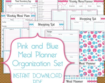 Meal Planner PDF Instant Download Organization Printable Set in Pink and Blue