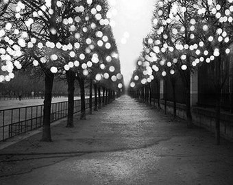 Paris Photography Black And White Fairy Lights Tuileries Prints Night