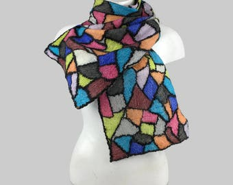 nuno felted scarf, stained glass, fashion scarf, wool scarf, merino wool and silk, felt scarf, OOAK