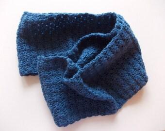 BLUE PURE MERINO WOOL NECK WARMER