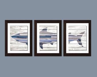 Shark Wall Decor, Shark Wall Art, Shark Decor, Shark Nursery Decor, Shabby Chick Wall Art, Shark Bathroom Decor, Navy Blue Decor