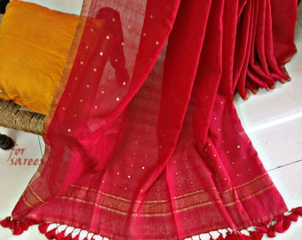 A cotton silk Saree with sequins