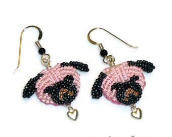 Sale: Pink PUG LOVE beaded sterling silver heart earrings (Ready to Ship) (a)