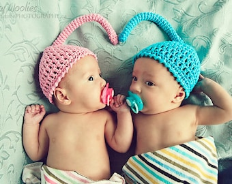 Newborn Crochet HaT Pattern: 'Sweet Sprite', Newborn Photo Prop, Twin Newborn Photography