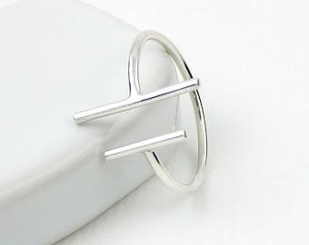 Two Bars Open Ring, Parallel Bar Ring, Skinny Ring, Sterling Silver Bar Ring, Sterling Silver Ring, Slim Ring, Modern Minimalist Ring