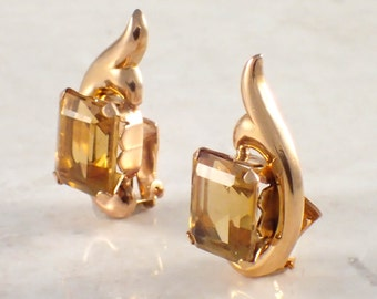 18K Yellow Gold Retro Citrine Earrings