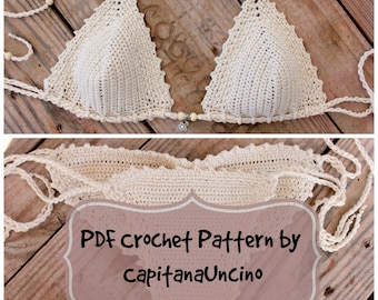 PDF, Crochet PATTERN Naiad Crochet Bikini Top and Brazilian Bottom, Cheeky, scrunch butt, Sizes XS-L