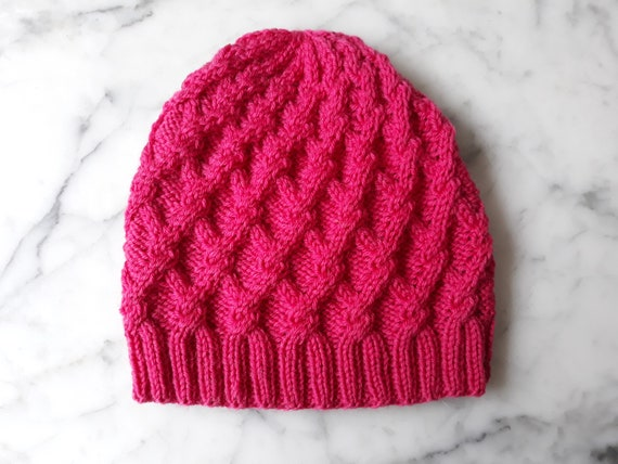 Cable knit beanie: handknit hat in merino wool. Pink knit beanie hat. Aran knit beanie. Original design. Made in Ireland. Beanie for her.