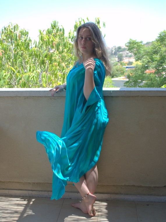 Kaftan DRESS Dyed gift fashion tunic Oversize Dress Maxi MATERNITY Caftan Long Outdoors ship Silk Hand dress summer Silk ready Summer to q8TxgYw