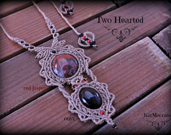 Double stone macrame necklace\Red Jasper and Onyx\handmade micromacrame