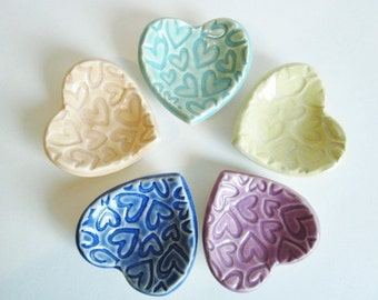 Wedding ring holders, Bridal showers, Party favors, Heart Ring dish,  Birthday party favors, Pottery