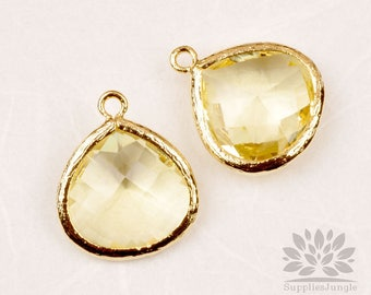 F102-02-G-GT// Gold Plated Framed Yellow Gold Stone Glass Pendant, 2pcs
