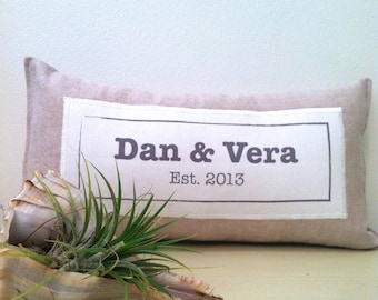 custom linen pillow decoration. personalized wedding gift. new home. wedding date. baby. decorative appliqued pillow. handmade by looploft