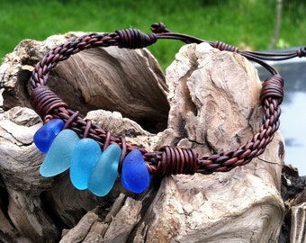 Puget Sound Genuine Sea Glass Leather Braided Bracelet