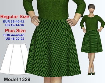 6 Gore A-line Knee Length Skirt Pattern for Women / sizes 12-22/ A-Line Skirt Pattern / Women's A Line Skirt Pattern PDF with instruction