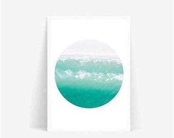 mint sky Photograph/cloud sky Print/Nature Print/Scandinavian Print/Minimal/Modern Print/Landscape/modern print poster/circle mint sky colud