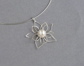 Handmade Silver Wire Flower Pendant - Bridal Jewellery - Sterling Silver and Pearl Waterlily Necklace - Silver Wedding Anniversary Gift