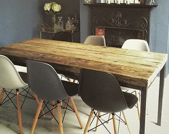 Industrial Kitchen Table Furniture Reclaimed Chic 6 8 Seater Dining
