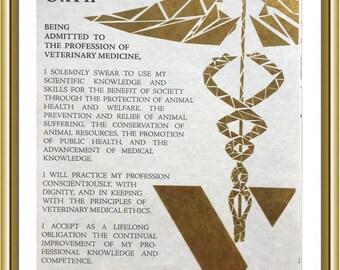 Personalized Vet Gift for Veterinarian Wall Art Goil Foil Framed Veterinarian Oath , Vet Print, Veterinary Student Graduation