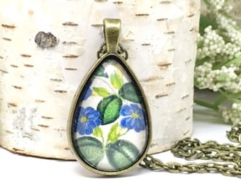 Teardrop Floral Necklace - Floral Necklace - Statement Necklace - Botanical Flower Jewelry - Large Teardrop Pendant - Botanical Print
