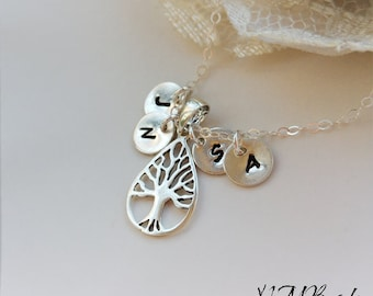 Custom Family Tree Necklace With Initial Discs Sterling Silver Tree of Life Personalized Mother Jewelry Mothers Day Grandma Gift For Mom