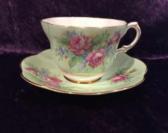 Vintage Rosina, Mint Green with Roses Teacup and Saucer